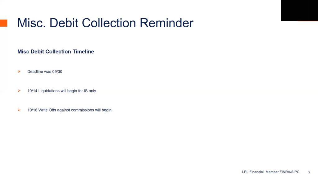 Misc. Debt Collection Deadline, October Key Points Communication